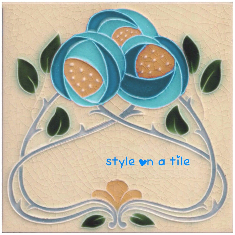 Rennie Mackintosh Blue Rose Turquoise Flower small ceramic tile ...