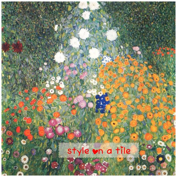 Gustav Klimt Daisy Aster Petunia Poppy Garden Design Large Etsy