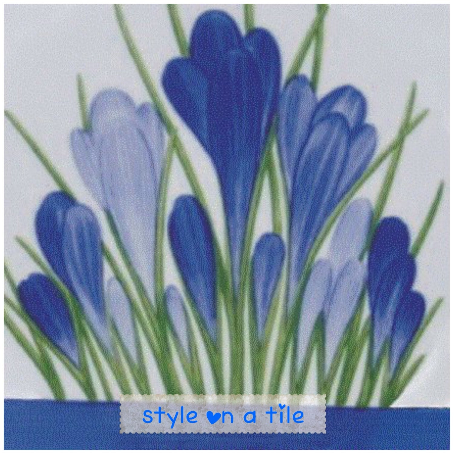 Lovely Clarice Cliff Blue Spring Crocus small ceramic tile drink ...