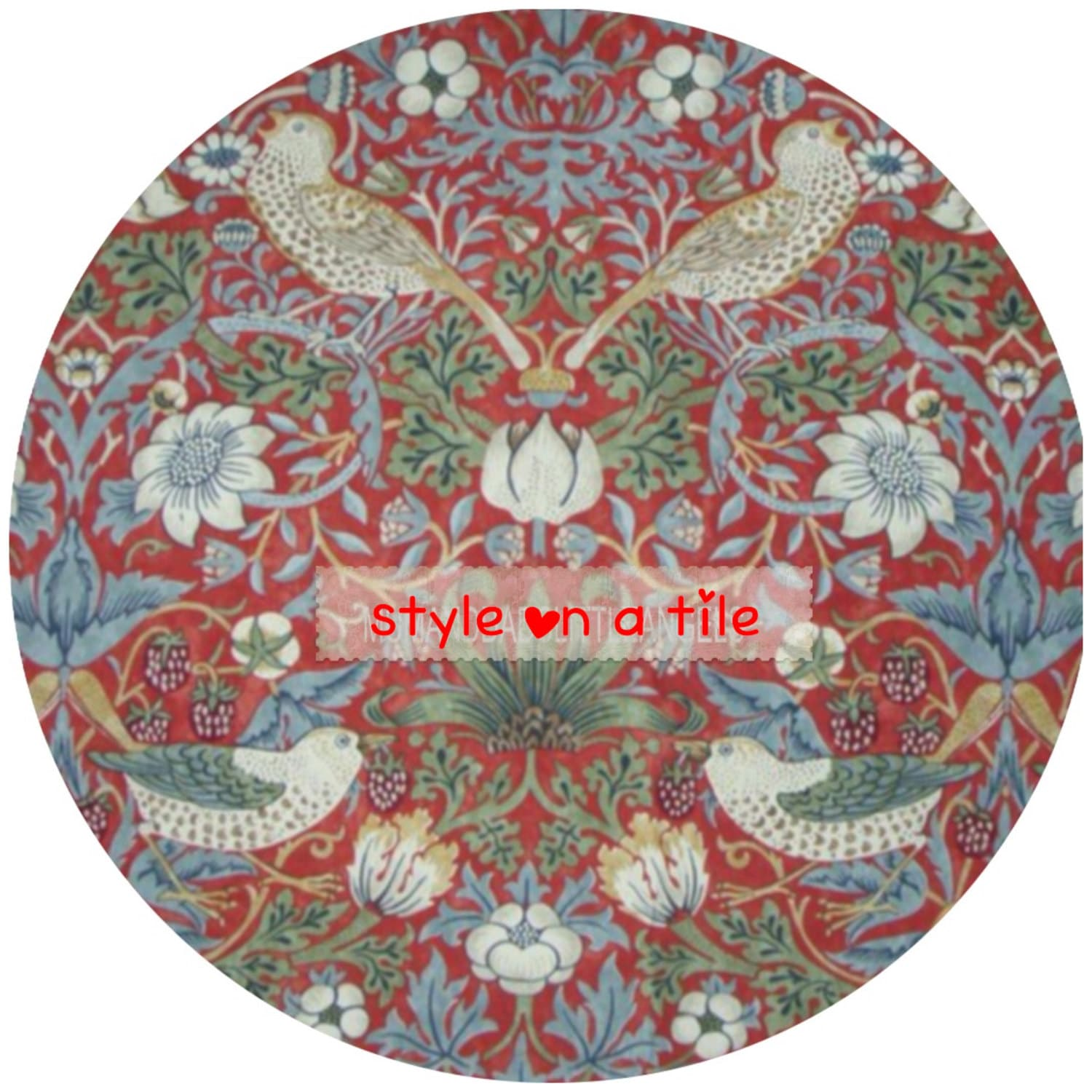 Lovely William Morris Red Strawberry Thief design round