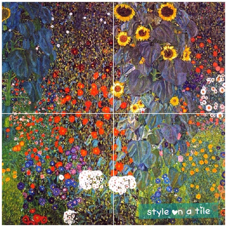 Gustav Klimt Farm Poppys Sunflowers Daisys Cornflowers Flowers 4