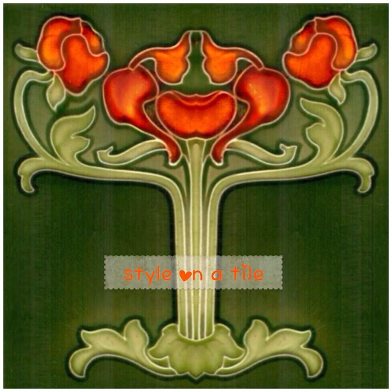 Lovely Art Nouveau Poppy Flower Orange Tangerine design 4 x 4.25 or 108mm ceramic tile mural mosaic wall art splash back