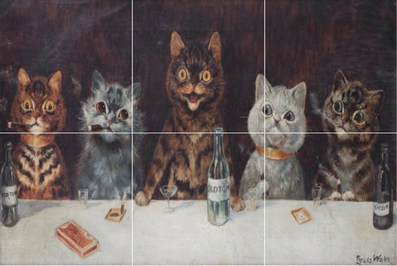 Lovely Louis Wain Batchelor Pussycat Cat Cigar Party 18x12 45cmx30cm using 6 x 6 or 152mm ceramic tile mural mosaic wall art splash back