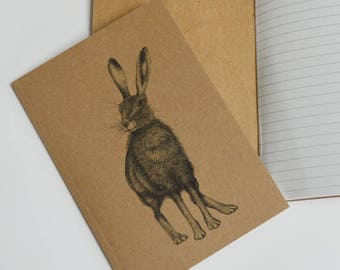 Recycled notebook with hare illustration. Hare notebook. A6 notebook with hare ink art.