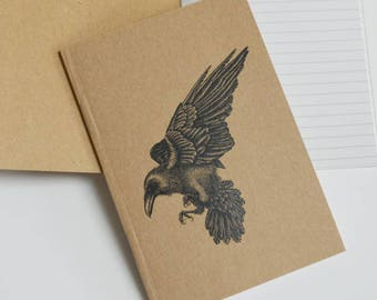 Raven notebook. Recycled A6 notebook with bird illustration. Gothic Notebook gift. Black ink raven art. Raven gift.