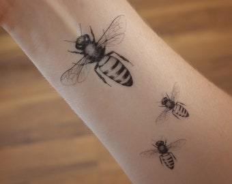 d5424d63f Honey bee temporary tattoo. Temporary tattoo with honey bee. Cute bee  tattoos. Honey bee gifts.