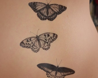 21aa4e79015b9 Set of 3 butterfly temporary tattoos - Monarch, Mormon, Tree Nymph.  Detailed temporary tattoos. Butterfly tattoo gift.