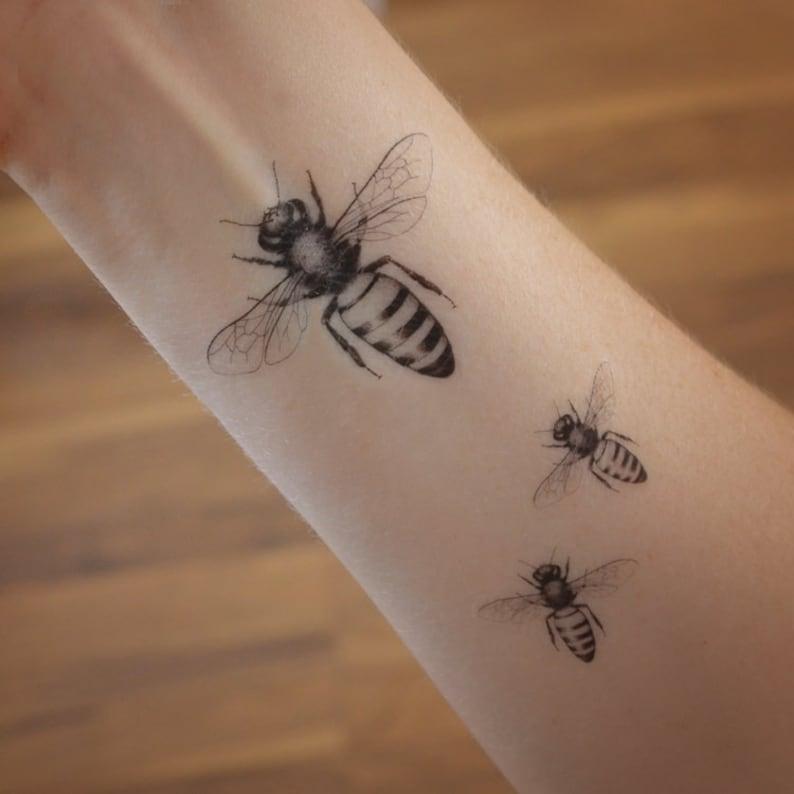 fb859428 Honey bee temporary tattoo. Temporary tattoo with honey bee. | Etsy