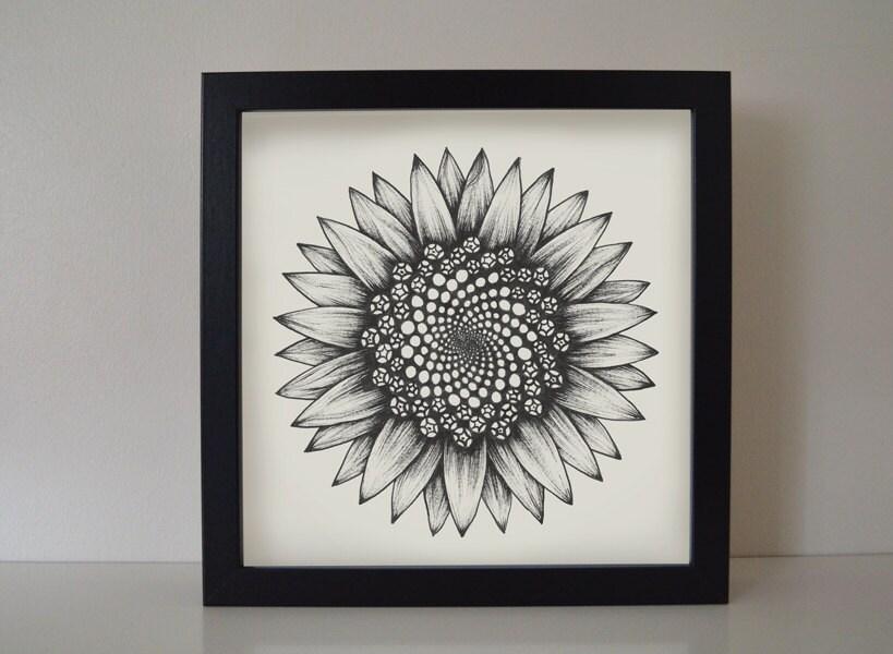 Enmarcado impresión girasol. Regalo de arte asequible única de | Etsy