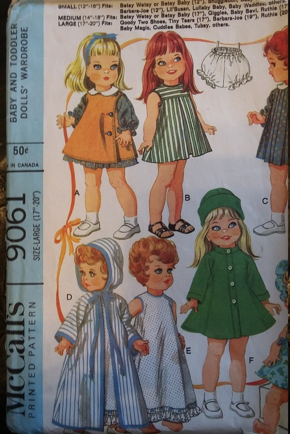 """Betsy Wetsy Tiny Tears Vtg 60s Doll Pattern ~ for 17/"""" 18/"""" 19/"""" 20/"""" American Girl"""