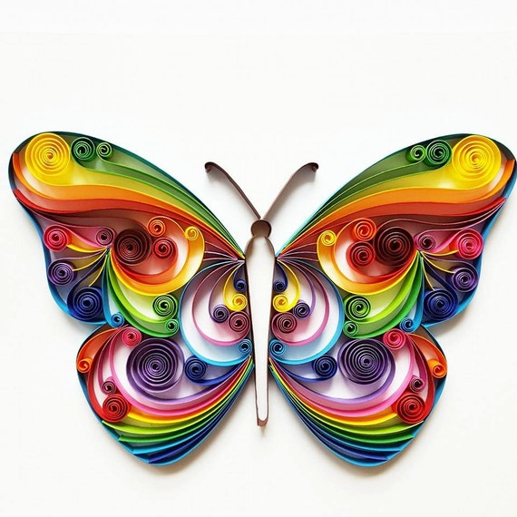 Quilled Paper Art Colourful Butterfly Handmade Etsy