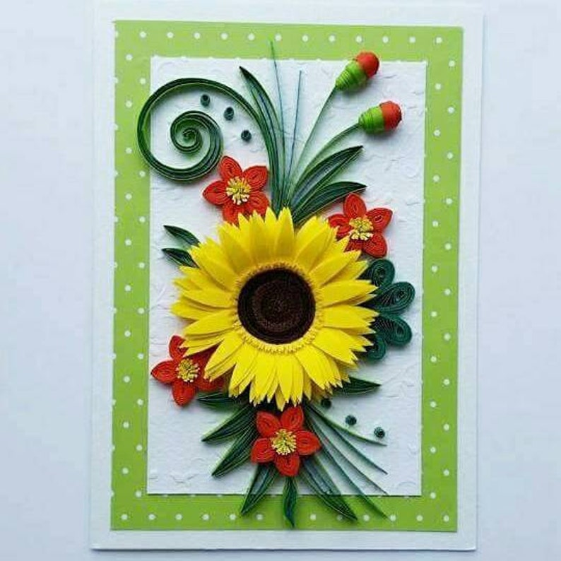 Mom Birthday Card Quilling Card Quilling Birthday Card with Sunflower Happy Birthday Card Mother/'s Day Card
