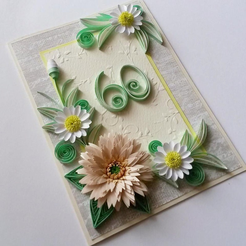 60th Birthday Card Handmade Floral