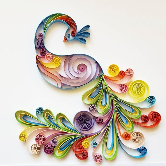 Quilled Paper Art Colourful Peacock Handmade Etsy