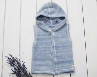 Organic Merino Wool Baby vest with hood
