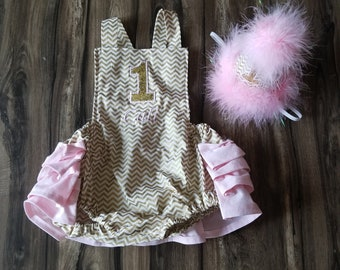 0a6e155b341 First Birthday Cake Smash Romper Pink Gold and White Chevron Twinkle Little  Star with Birthday Hat and Leg Warmers for Baby Girl