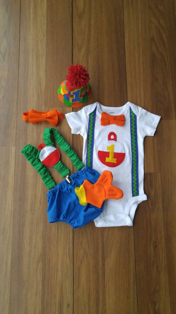 First Birthday Cake Smash Outfit Reel Big One Gone Fishing Etsy