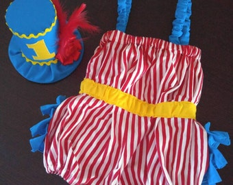 First Birthday Cake Smash Outfit for Baby and Toddler Girl Red and White Stripe Turquoise Yellow or Gold Romper Top Hat Circus Ringleader