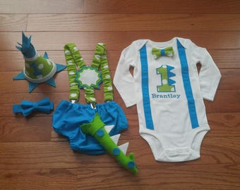 First 1st Birthday Cake Smash Outfit Dinosaur Lime Polka Dot and Turquoise Blue Diaper Cover BowTie Suspenders HighChair Banner Hat Baby Boy