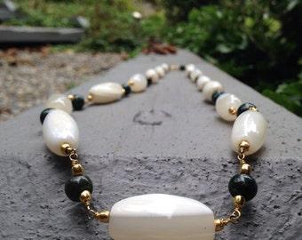 Beautiful Green & White Stone Necklace