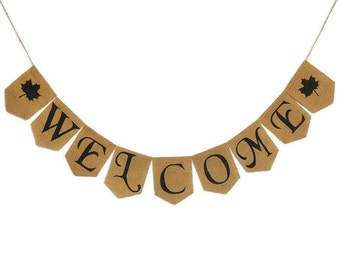 welcome fall banner burlap banner custom banners welcome sign etsy