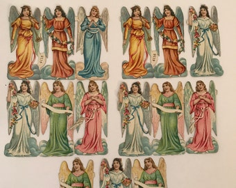 Antique Die Cut Angels: Lot of 15