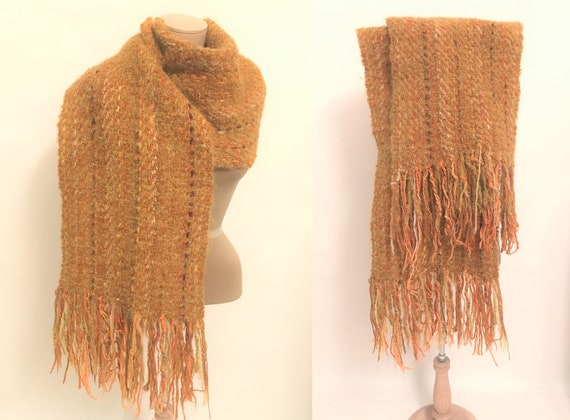 Vintage Handwoven Long Scarf: Wool, Mohair and Syn