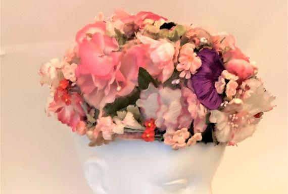 Vintage Floral Pillbox Hat