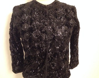 "Vintage Black Sequin Sweater from The ""Golden Gate Gift Shop"""