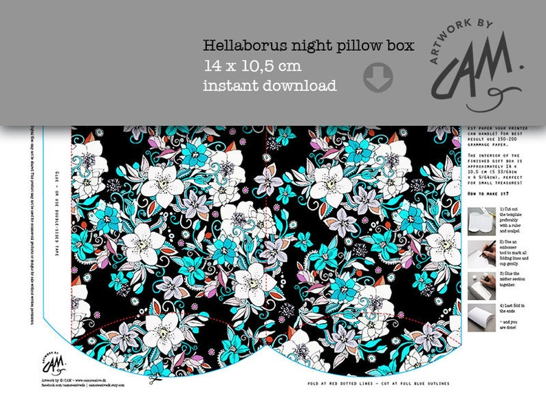 instant design for present wrapping Template \u2013 paper pillow gift box Hellaborus floral DIY Printable box flower pattern for download