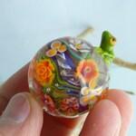 1 FLOWER FROGGY FOCAL -  artisan lampwork bead. Handmade by German glass artist Sabine Frank