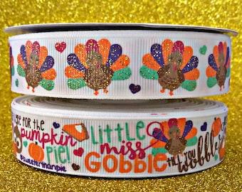 "7/8"" USDR Little Miss Gobble till you Wobble on white grosgrain ribbon by the yard"