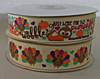 """7/8"""" USDR Little Miss Gobble Till You Wobble-Just Here For The Pie- Gold Glitter designer ribbon by the yard"""