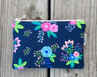 fbec357a90b332 Navy Floral Small Cosmetic Bag