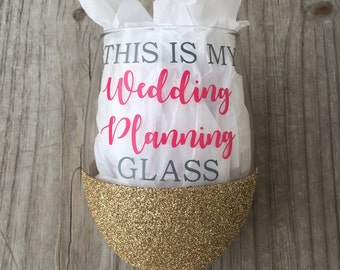 This Is My Wedding Planning Glass, Wine Glass, Glittered Wine Glass, 21oz Wine Glass, Custom Glitter Glass, Wine Glass, Wedding Wine Glass