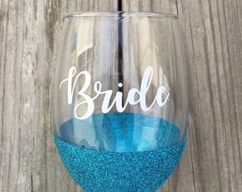 Bride Wine Glass, Wine Glass, Glittered Wine Glass, 21oz Wine Glass, Custom Glitter Glass, Wine Glass, Wedding Wine Glass