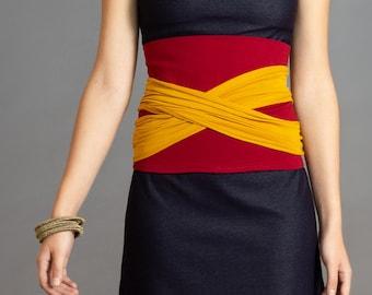 Burgundy & Mustard. Dual-color Obi-Belt for Women. Waist Belt, Cotton Belt, Wrap Belt, Sash Belt, Wide Belt