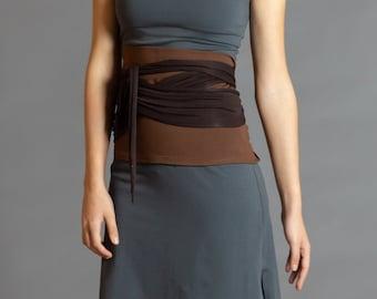 Brown & Dark Brown. Dual-color Obi-Belt for Women. Waist Belt, Cotton Belt, Wrap Belt, Sash Belt, Wide Belt