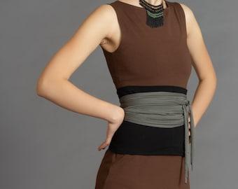 Black & Olive Grey. Dual-color Obi-Belt for Women. Waist Belt, Cotton Belt, Wrap Belt, Sash Belt, Wide Belt