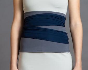 Grey & Dark Blue. Dual-color Obi-Belt for Women. Waist Belt, Cotton Belt, Wrap Belt, Sash Belt, Wide Belt