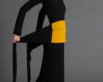 Mustard & Black. Dual-color Obi-Belt for Women. Waist Belt, Cotton Belt, Wrap Belt, Sash Belt, Wide Belt