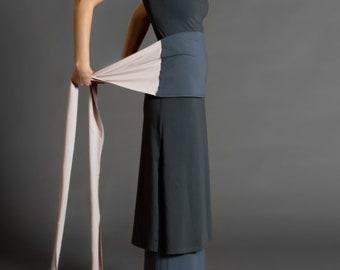 Grey & Smoked Pink. Dual-color Obi-Belt for Women. Waist Belt, Cotton Belt, Wrap Belt, Sash Belt, Wide Belt
