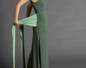 Olive & Pistachio. Dual-color Obi-Belt for Women. Waist Belt, Cotton Belt, Wrap Belt, Sash Belt, Wide Belt