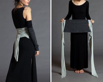 Heather Grey &  Light Heather. Dual-color Obi-Belt for Women. Waist Belt, Cotton Belt, Wrap Belt, Sash Belt, Wide Belt