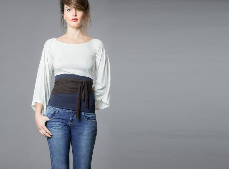 09d11d2142 Dual color Obi belt, Wrap belt , Wide belt , Wrap top, Waist belt, Corset  belt, Waist cincher, Plus size, Cloth belt, Japanese clothing