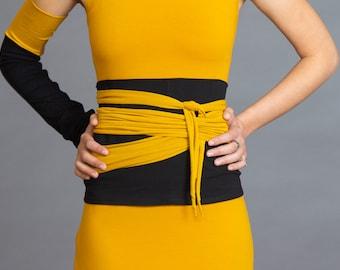 Black & Mustard. Dual-color Obi-Belt for Women. Waist Belt, Cotton Belt, Wrap Belt, Sash Belt, Wide Belt