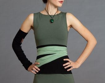 Black & Pistachio. Dual-color Obi-Belt for Women. Waist Belt, Cotton Belt, Wrap Belt, Sash Belt, Wide Belt