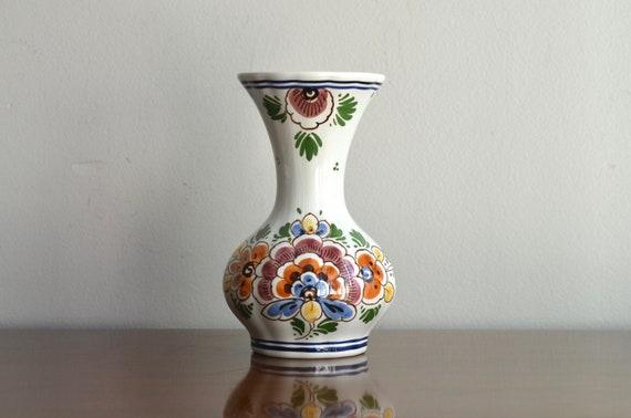 Vintage Delft Flower Bud Vase Ceramic Hand Painted Vase Made Etsy