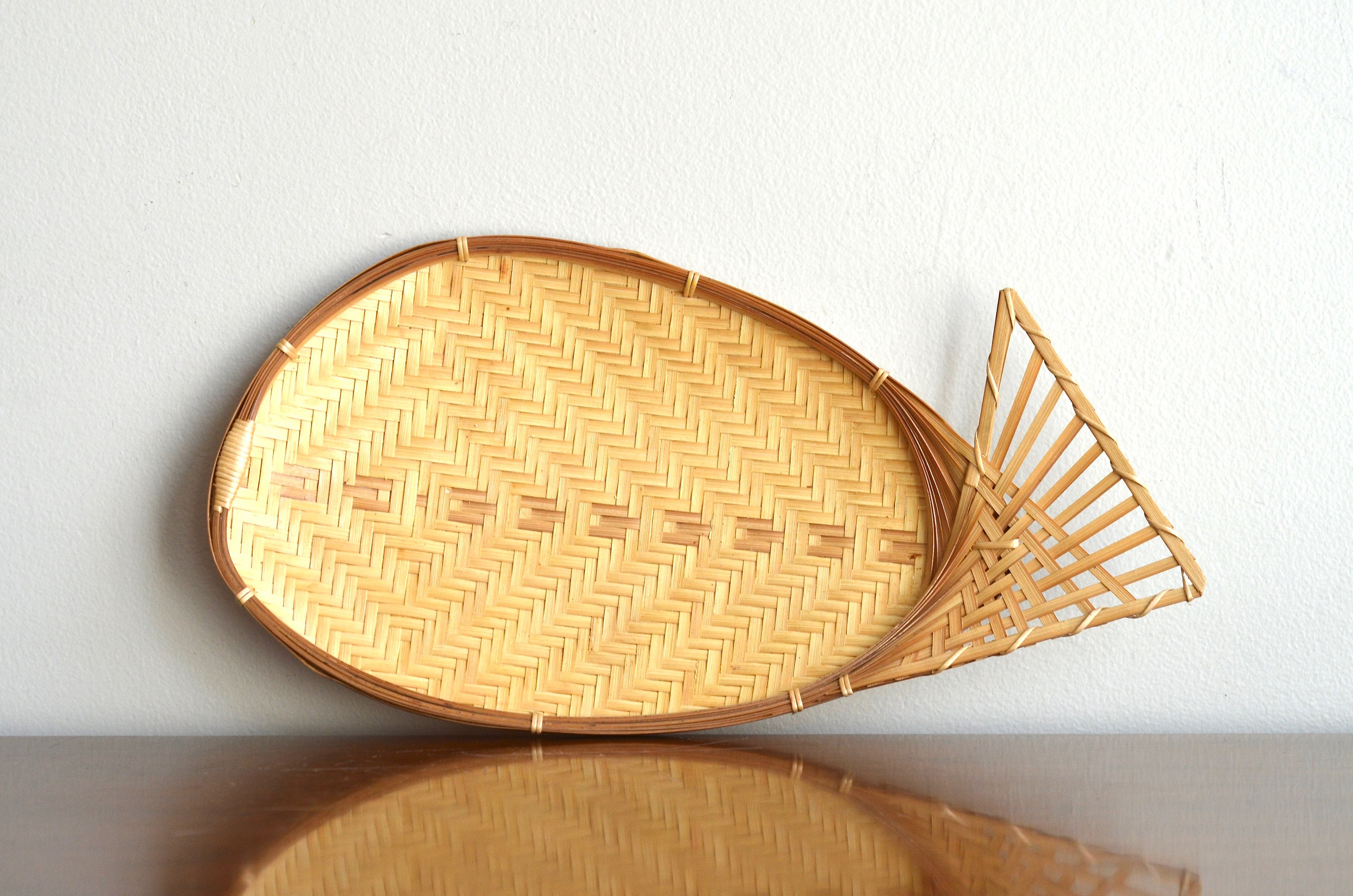 Vintage Woven Fish Basket Serving Decorative Tray Chevron