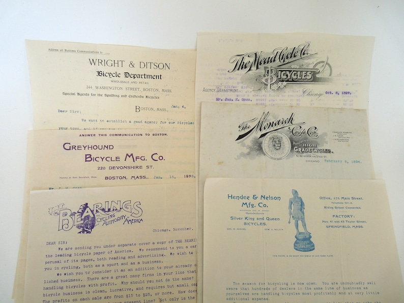 6 letterheads bicycle companies 1800 Monarch Hendee Nelson Mead Cycle Bearings Cycling Authority Wright Ditson Greyhound advertising